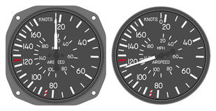 Aircraft indicators 5 - 480B dashboard set. Airspeed indicator of helicopter (Enstrom 480B) with alternative dial. Isolated on white background with clipping Stock Photos