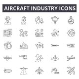 Aircraft industry line icons. Editable stroke signs. Concept icons: aviation, jet, airplane, aerial transport, flight. Aircraft industry line icons. Editable stock illustration