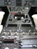 Aircraft instrumental panel. Aircraft flight panel with a multitude of instruments Stock Image