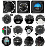 Aircraft instruments collection. Aircraft instruments, isolated and grouped objects on white Royalty Free Stock Photos