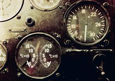 Aircraft instruments. Retro aviation, aircraft instruments in vintage style stock photography