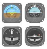 Aircraft instruments set #1. Attitude indicator and turn & bank coordinator Royalty Free Stock Images