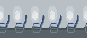 Aircraft interior with blue chairs on the portholes background vector illustration