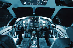 Aircraft interior, cockpit view inside the airliner stock image