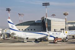 The aircraft of the Israeli airline El Al Boeing 737-800 on the airfield of the airport named after Ben Gurion. Israel Royalty Free Stock Photos
