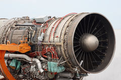 Aircraft jet engine detail. The engine of the jet plane the front view Stock Photography