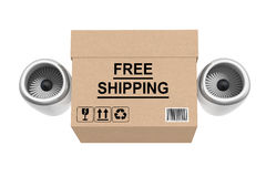 Aircraft Jet Engine Express Delivery Free Shipping Box. 3d Rende Stock Photo
