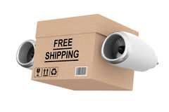 Aircraft Jet Engine Express Delivery Free Shipping Box. 3d Rende Stock Photography