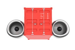 Aircraft Jet Engine with Shipping Container. 3d Rendering Stock Photography