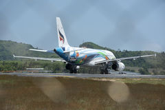 The aircraft landed near the airport in Phuket Mai Khao Beach on Royalty Free Stock Images