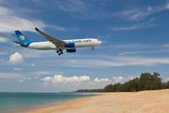 Aircraft landing. Landing aircraft at Phuket airport Royalty Free Stock Photography