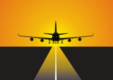 Aircraft landing. At the airport Royalty Free Stock Photos