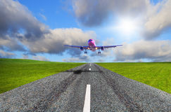 Aircraft landing on the airport Royalty Free Stock Image