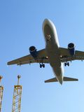Aircraft Landing And Landing Lights. Royalty Free Stock Photography