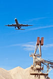 Aircraft in landing approach with blue sky Royalty Free Stock Photos