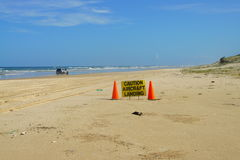 Aircraft landing caution sign on Fraser island Stock Images