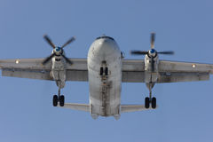 Aircraft An-26 is on landing. Rostov-on-Don, Russia, 7 February 2012 royalty free stock photography