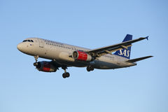 Aircraft landing Scandinavian Airlines Royalty Free Stock Image