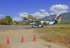 Aircraft on landing strip in Costa Rica Stock Photo