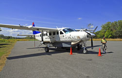 Aircraft on landing strip in Costa Rica Stock Photography