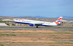 Aircraft Landing - British Airways Flight Passenger Plane Airport Stock Images