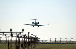 Aircraft landing in Vancouver airport Royalty Free Stock Photos