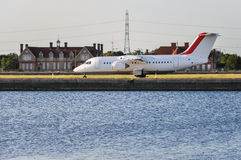 Aircraft on the London City Airport runway Royalty Free Stock Photo