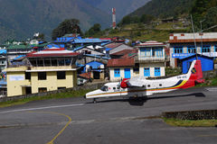 Aircraft in Lukla airport. Aircraft on one of the most dangerous airports in the world, Nepal Lukla Stock Image