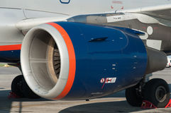 Aircraft maintenance before departure. The engine of the aircraft A319, Rostov-on-Don, Russia, July 15, 2015 Stock Photography