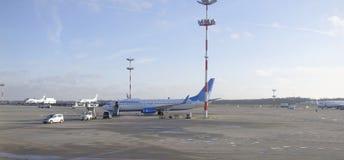Aircraft Maintenance in the Vnukovo airport Stock Photo