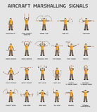 Aircraft marshalling signals. Infographics poster vector illustration