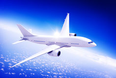Aircraft Midair Public Transportation Flying concept Stock Photo