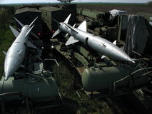 Aircraft missiles. Two aircraft missiles of the soviet war plane Royalty Free Stock Images