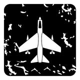 Aircraft with missiles icon, grunge style Stock Photography