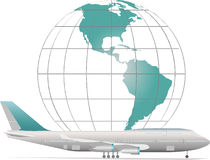 Aircraft with model of Earth. Air travel on aircraft around the world Royalty Free Stock Photo