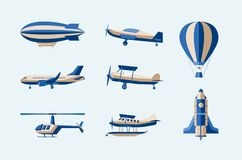 Aircraft - modern vector isolated set of objects. On light background. Different means of transport: plane, helicopter, hot air ballon, airship, rocket stock illustration