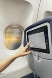 Aircraft monitor the passenger seat. Touch screen Stock Photography