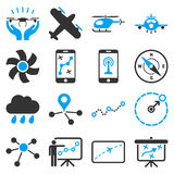 Aircraft navigation icon set Stock Photo