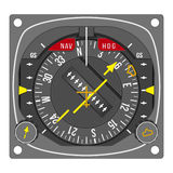 Aircraft navigation indicator - HSI (vector). Aircraft gauge - horizontal situation indicator - Navigation instrument from dashboard isolated on white background Stock Images
