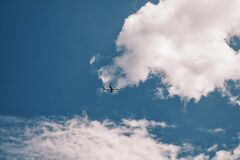 Aircraft Near Clouds Royalty Free Stock Photos