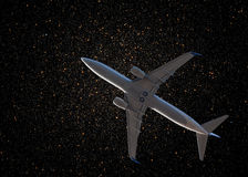 Aircraft on night sky Stock Photos