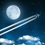 Aircraft. On night sky with moon Stock Photography