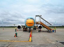 Aircraft of Nok Airlines waiting for passengers. Trang Airport, Trang, Thailand. 10th October 2018: Aircraft of Nok Airlines waiting for passengers, Nok Airlines stock photography