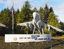 Aircraft, Oak Harbor, Whidbey Island, Washington. Aircraft - Welcome sign - City of Oak Harbor, Whidbey Island, Washington. United States Royalty Free Stock Photos