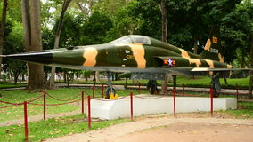 Aircraft outside Presidential Palace. Zoom Out Russian MIG Aircraft - Independence Palace - Ho Chi Minh City Vietnam stock video footage