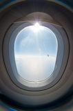 Aircraft oval window royalty free stock image