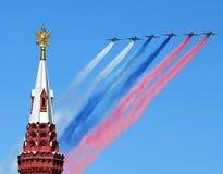 Aircraft over the Kremlin Royalty Free Stock Image