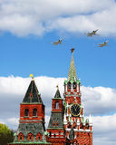 Aircraft over the Kremlin Royalty Free Stock Photography