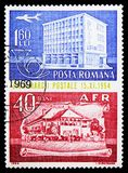 Aircraft over modern post office and posthorn, Stamp Day serie, circa 1964. MOSCOW, RUSSIA - FEBRUARY 9, 2019: A stamp printed in Romania shows Aircraft over royalty free stock photo