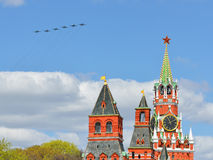 Aircraft over Moscow Kremlin Stock Photography